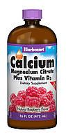 Жидкий Кальций Цитрат Магния + Витамин D3, Вкус Малины, Bluebonnet Nutrition, 16 жидких унций (472 мл)