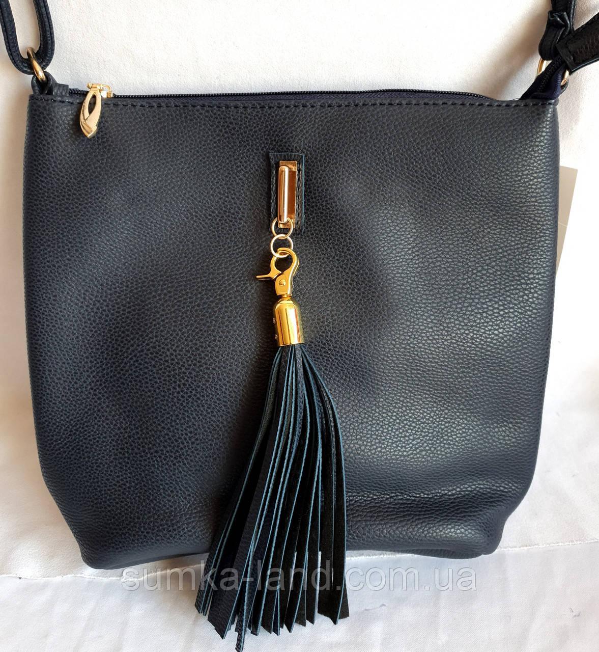 Женская синяя сумка, клатч с ремешком на плечо 26*25 см