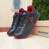 🔥 Кроссовки мужские спортивные повседневные Reebok Harmony Road 3 рибок гармони роуд чёрные с красным сетка, фото 5