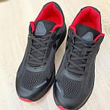 🔥 Кроссовки мужские спортивные повседневные Reebok Harmony Road 3 рибок гармони роуд чёрные с красным сетка, фото 8