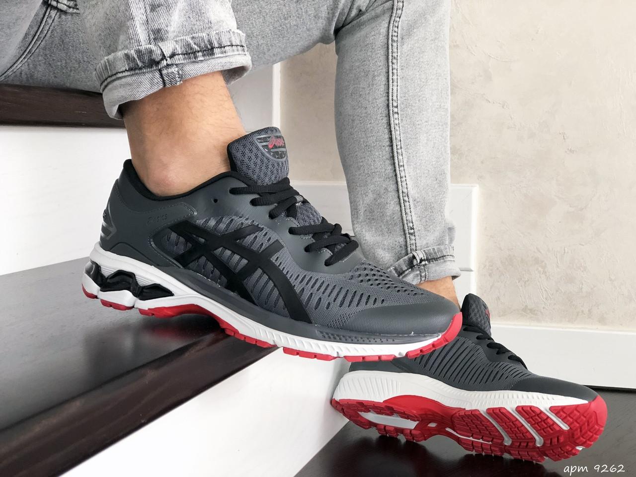 Мужские кроссовки Asics Gel-Kayano 25 (темно-серые с белым и красным) 9262