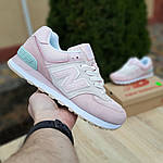 Женские замшевые кроссовки New Balance 574 (розово-серые) 20030, фото 2
