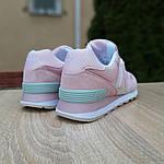 Женские замшевые кроссовки New Balance 574 (розово-серые) 20030, фото 3
