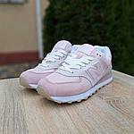 Женские замшевые кроссовки New Balance 574 (розово-серые) 20030, фото 7