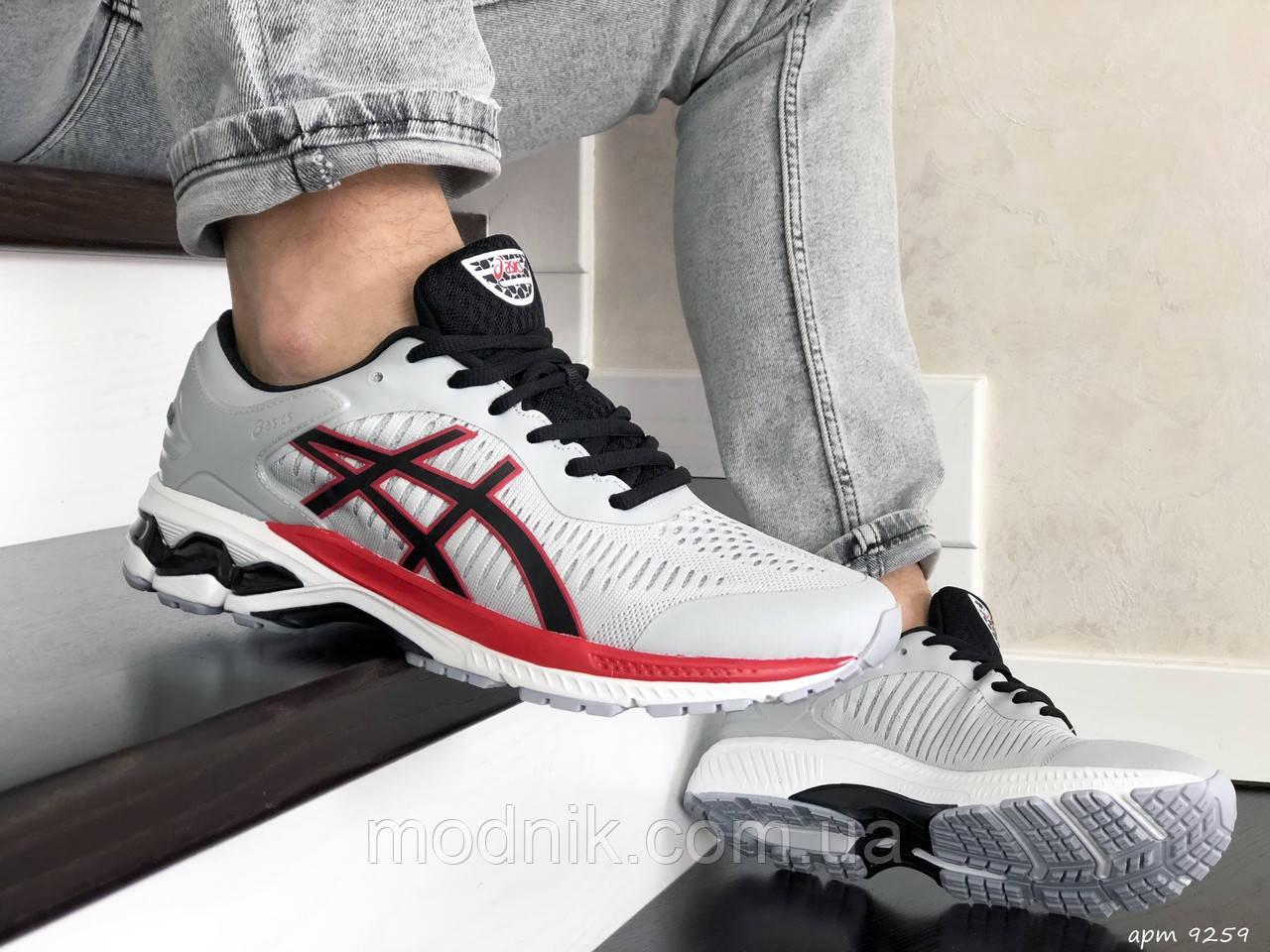 Мужские кроссовки Asics Gel-Kayano 25 (светло-серые с красным) 9259
