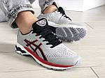 Мужские кроссовки Asics Gel-Kayano 25 (светло-серые с красным) 9259, фото 5