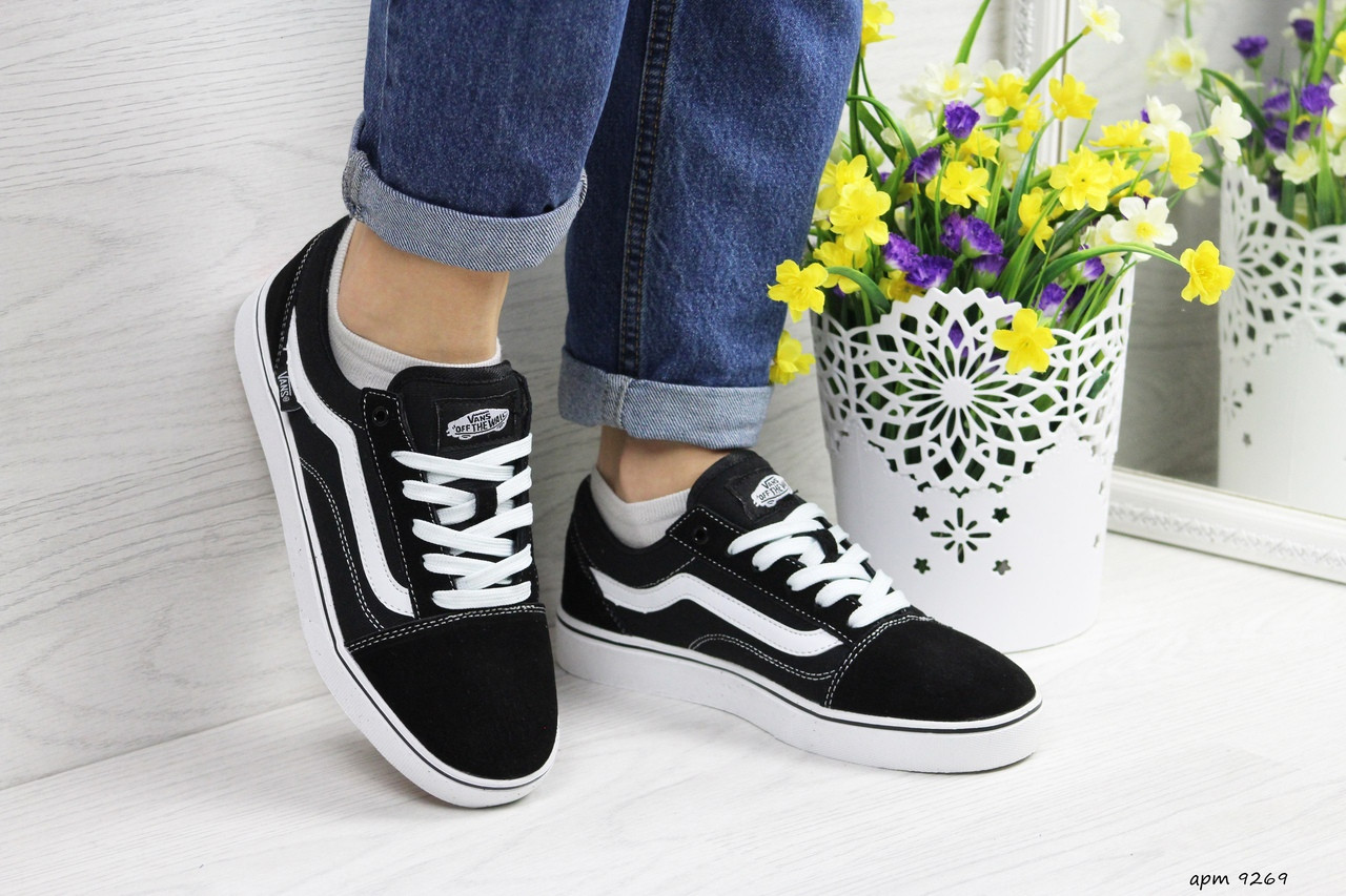 Женские кроссовки Vans (черно-белые) 9269