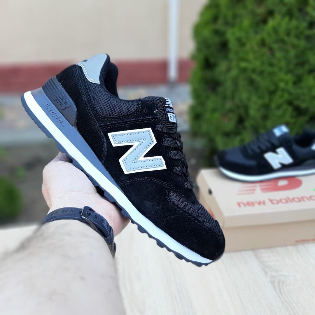Замшевые мужские кроссовки New Balance 574 (черные) Рефлективные 10103