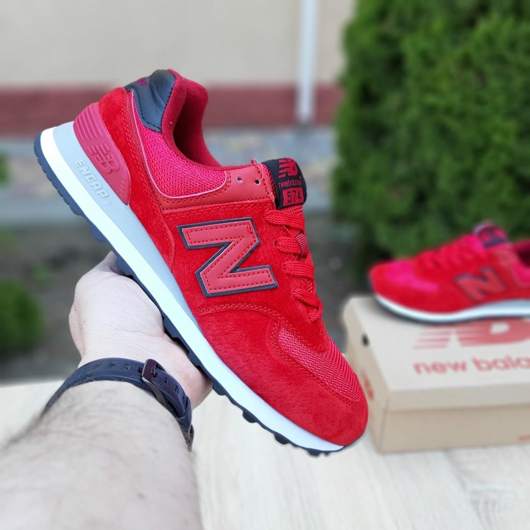 Замшевые мужские кроссовки New Balance 574 (красные) 10107