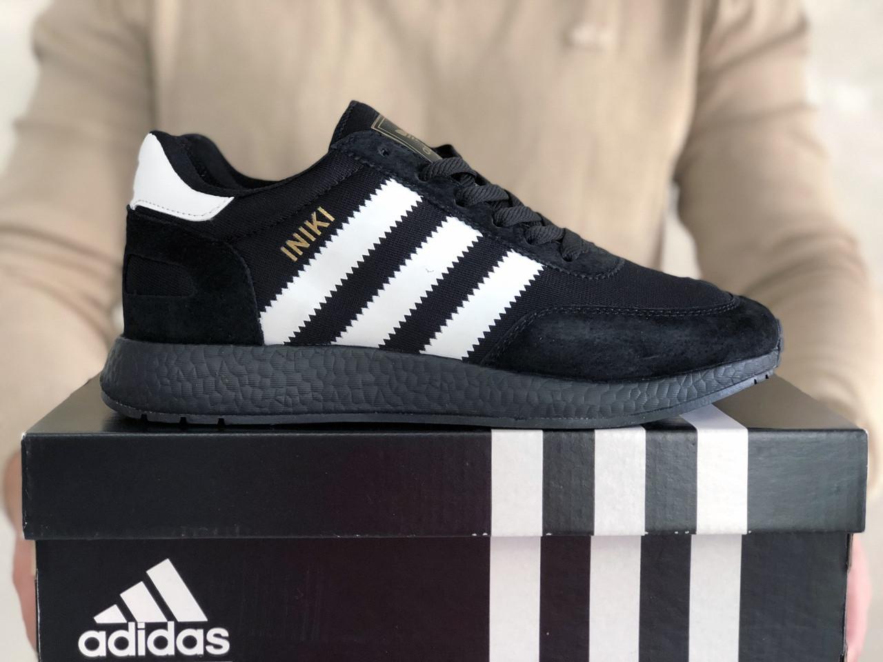 Мужские кроссовки Adidas Iniki (черно-белые) 9276