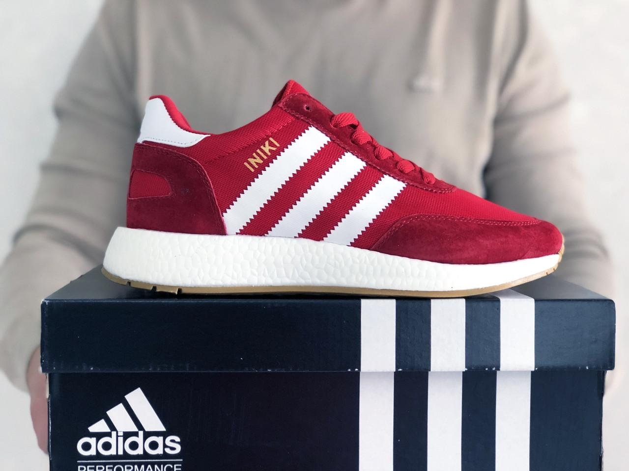 Мужские кроссовки Adidas Iniki (красно-белые) 9282