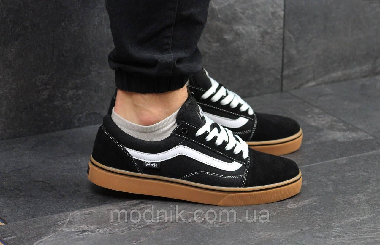 Мужские кроссовки Vans (черно-коричневые) 9266