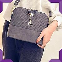 Стильная женская сумка через плечо Bembi | Маленькая сумочка Бэмби,серая
