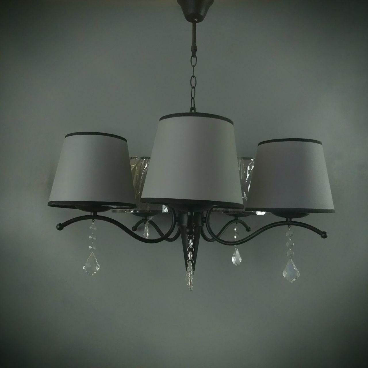 Люстра подвесная на 5 ламп  06-8609/5 BK+BR