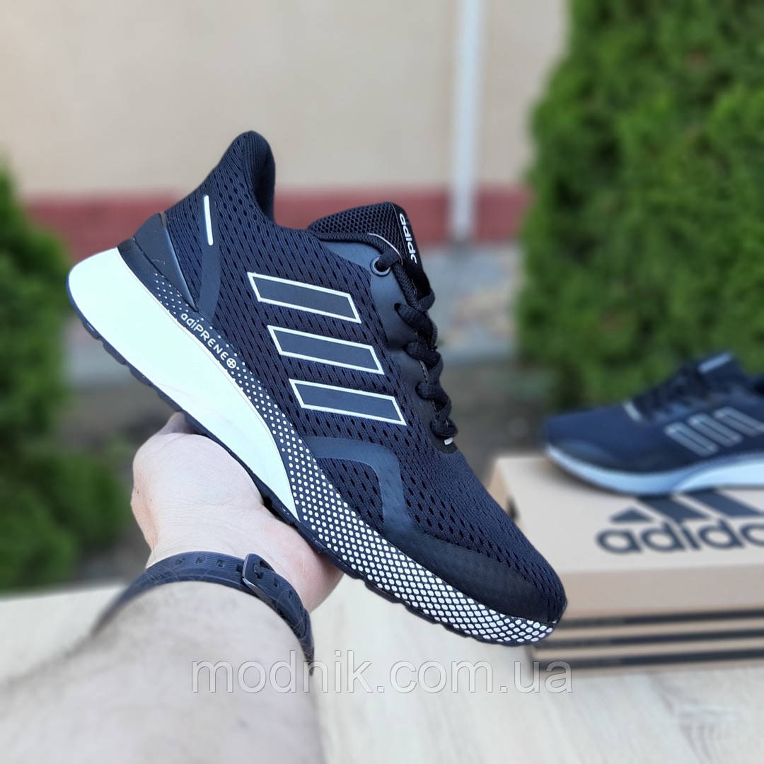 Мужские кроссовки Adidas Nova Run X (черно-белые) Рефлективные 10101