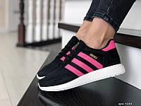 Кроссовки для женщин лето сетка замша черно белые с малиновым в стиле Adidas Iniki