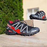 Мужские кроссовки Salomon Speedcross 3 чёрные с красным плотная сетка