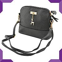 Стильная женская сумка через плечо Bembi | Маленькая сумочка Бэмби,черная