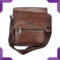 Мужская сумка из эко-кожи JEEP 866 BAGS | сумка через плечо JEEP,коричневая
