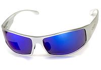 Спортивні дзеркальні сині окуляри Global Vision BAD ASS 1 в сірій металевій оправі
