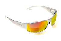 Спортивні дзеркальні червоні окуляри Global Vision BAD ASS 1 в сірій металевій оправі