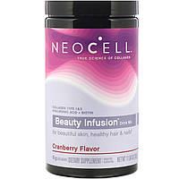 Комплекс для красоты волос. кожи и ногтей, Коллаген 1 и 3 типа, Гиалуроновая кислота + Биотин, Вкус Клюквы,Neocell, Beauty Infusion, порошок 330 г