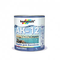 Краска для бассейнов Kompozit АК-12 Голубая, 2.8кг