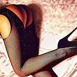 Женские колготки чулки с вырезом в стразах Размер 2 Цвет Чёрный Мелкая сетка КОД ТОВАРА 100-017, фото 7