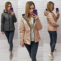Женская двусторонняя куртка с капюшоном  арт.185/1 НОРМА графит+бежевый