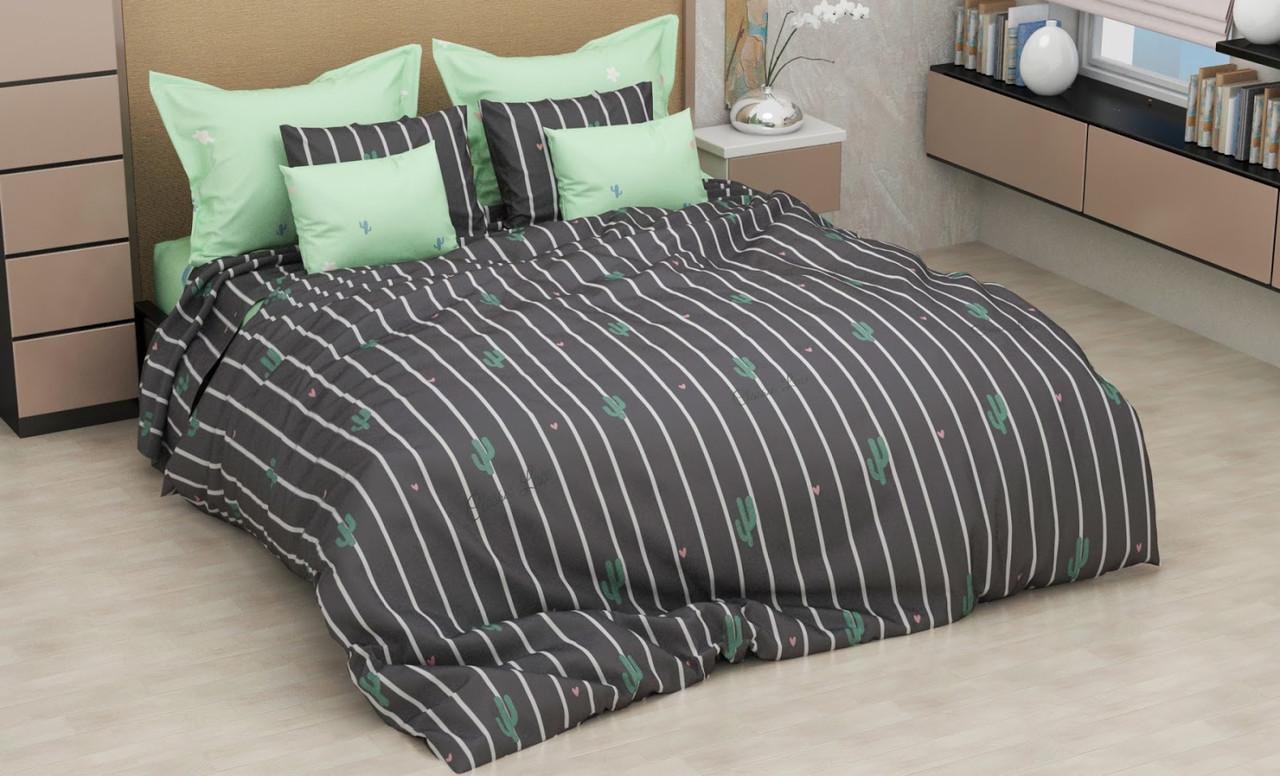 Комплект качественного постельного белья, размер євро, кактус полоска