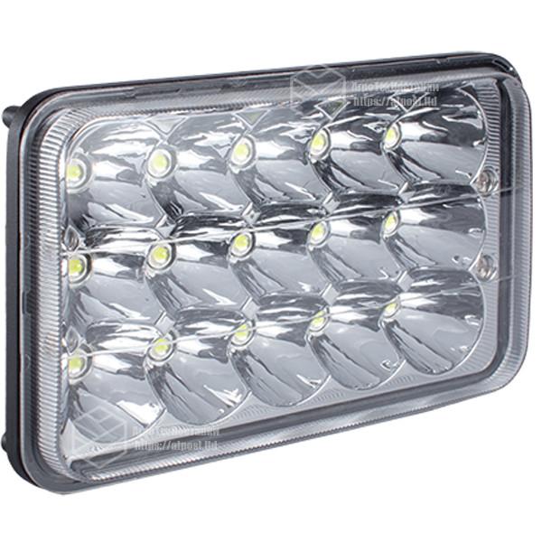 Фара LED прямоугольная 45W, 15 ламп, дальний и ближний луч 10/30V 6000K толщина: 80 мм