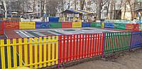 Забор штакетный металлический  МU-500х2000/14 Паркан металевий оцинкований Євроштахет ЕСОВОХ©