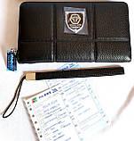 Мужской клатч, портмоне Philip Plein из натуральной кожи на молнии и с ремешком на руку 21*12 см, фото 4