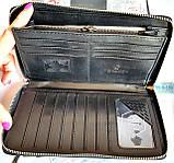 Мужской клатч, портмоне Philip Plein из натуральной кожи на молнии и с ремешком на руку 21*12 см, фото 5