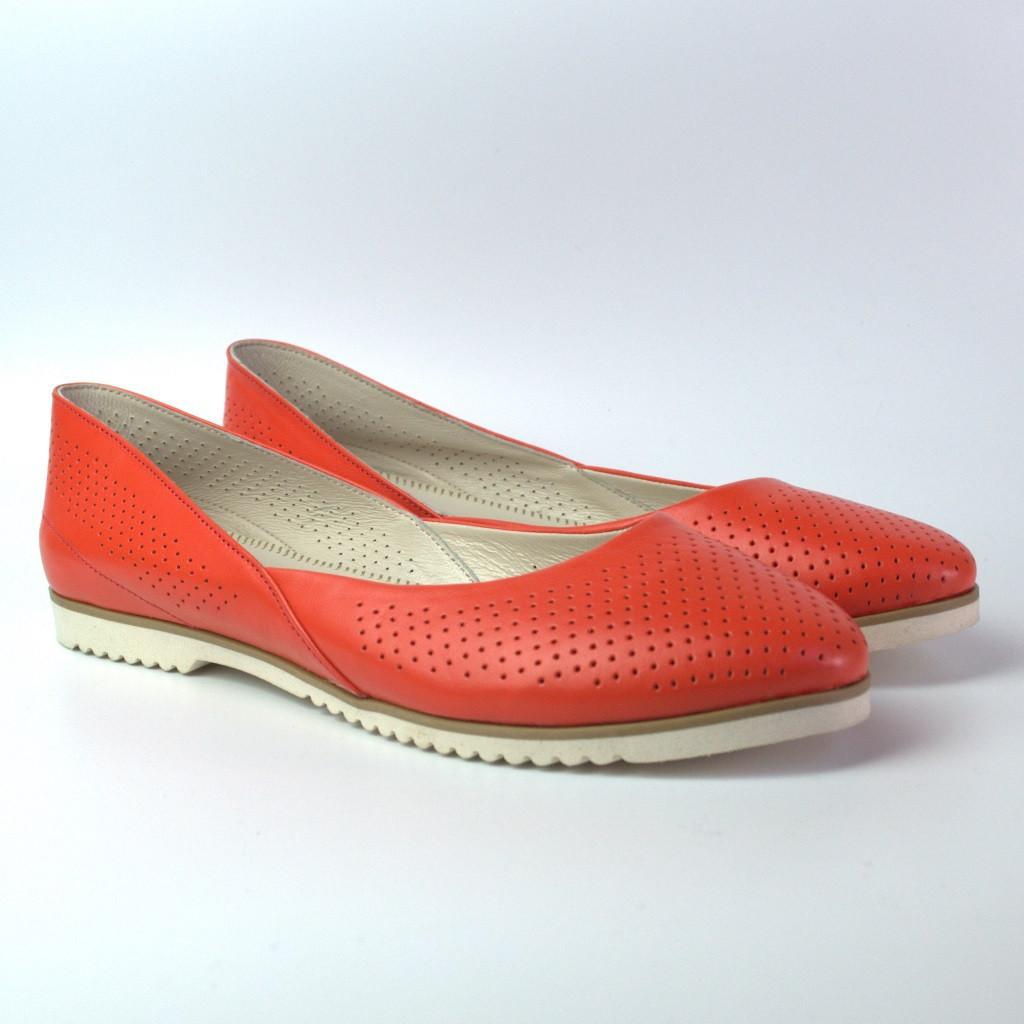 Літні помаранчеві шкіряні балетки жіноче взуття великих розмірів Gracia U Orange Perf by Rosso Avangard