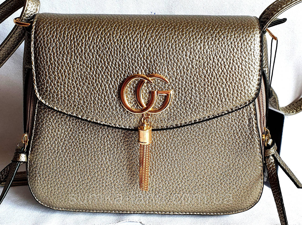 Женский молодежный бронзовый клатч Gucci на плечо 23*18 см