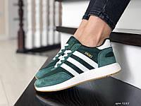 Кроссовки женские  Adidas Iniki темно зеленые