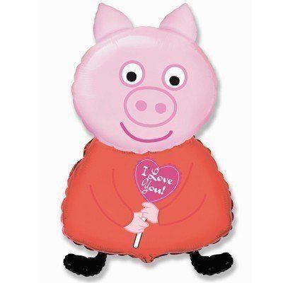 Фольгована кулька велика фігура Пеппа свинка з серцем 82х45см Flexmetal