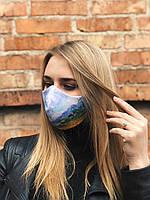 Принтованная многоразовая маска RicaMare с репродукцией картины Пшеничное поле с кипарисами Винсент Ван Гог (RM0113)