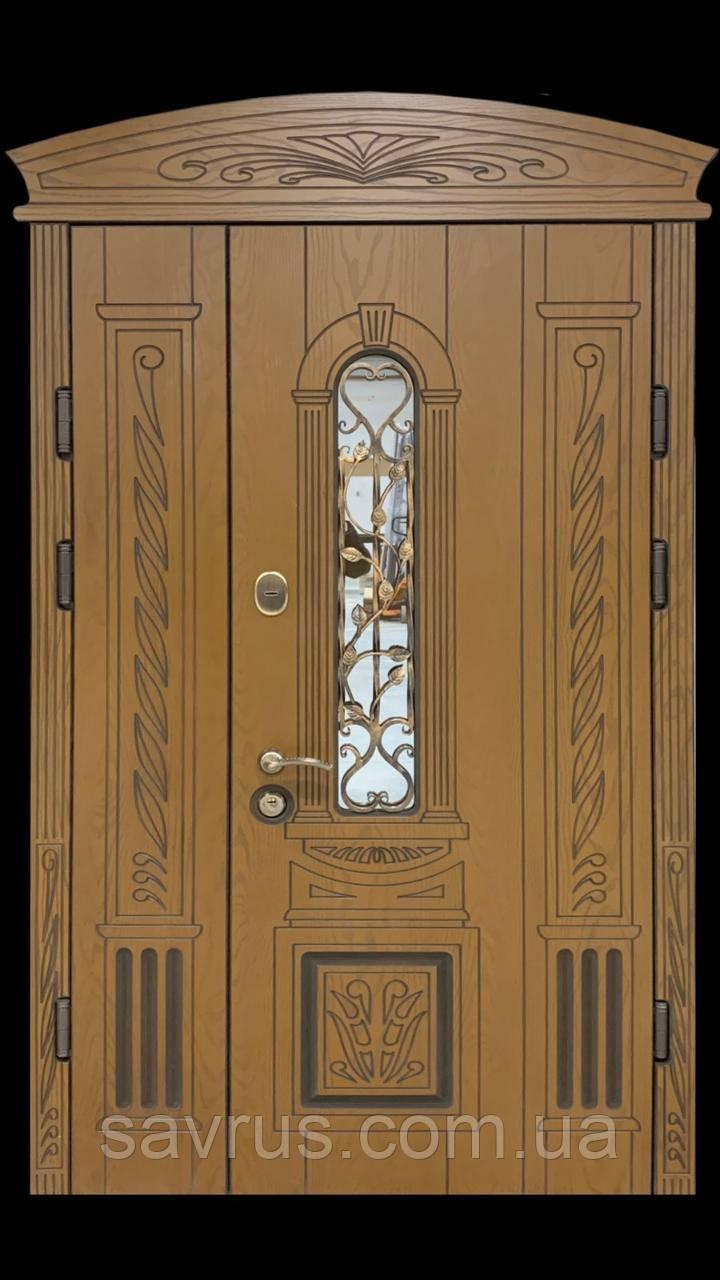 Двері вхідн PRESTIGE PL20-59-А 1170х2050 R(прав) зол.дуб.+карниз з ПОЛІМЕРНОЮ панеллю і склопакетом