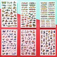 Наклейки стикеры самоклеющиеся Коты и цветы HEYEJET 6 шт.
