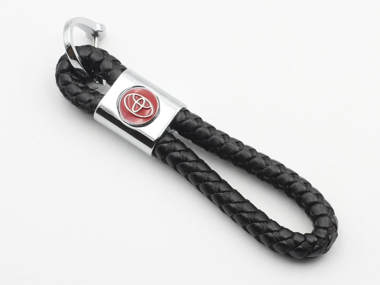 Брелок плетінка з логотипом автомобіля Toyota, брелок петля для автомобільних ключів Toyota чорного кольору