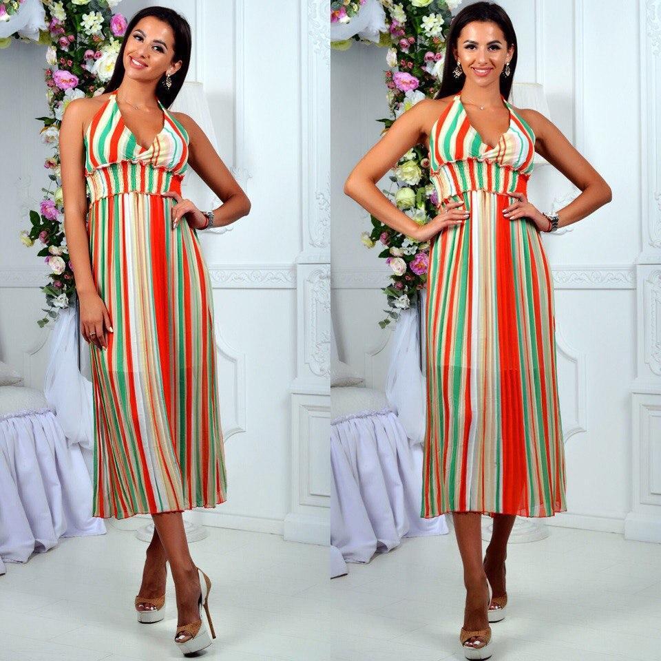 Платье-сарафан в яркую полоску с завышенной талией и длинной юбкой, из ткани шифон, ,р-р. 42-44,46-48 код 663Б