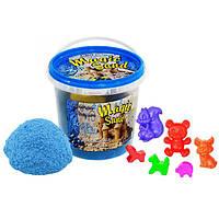 Кинетический песок Strateg Magic Sand — голубого цвета с ароматом черники. Ведро 1 кг