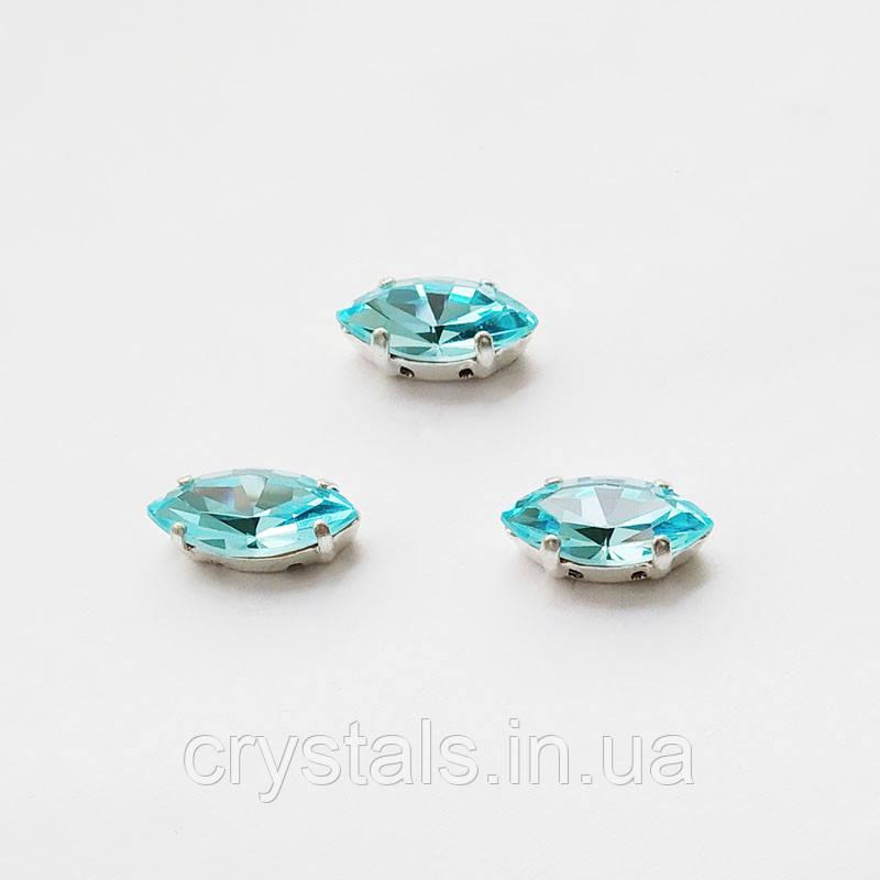 Лодочки в цапах Preciosa (Чехия) 15x7 мм Aqua Bohemica/серебро