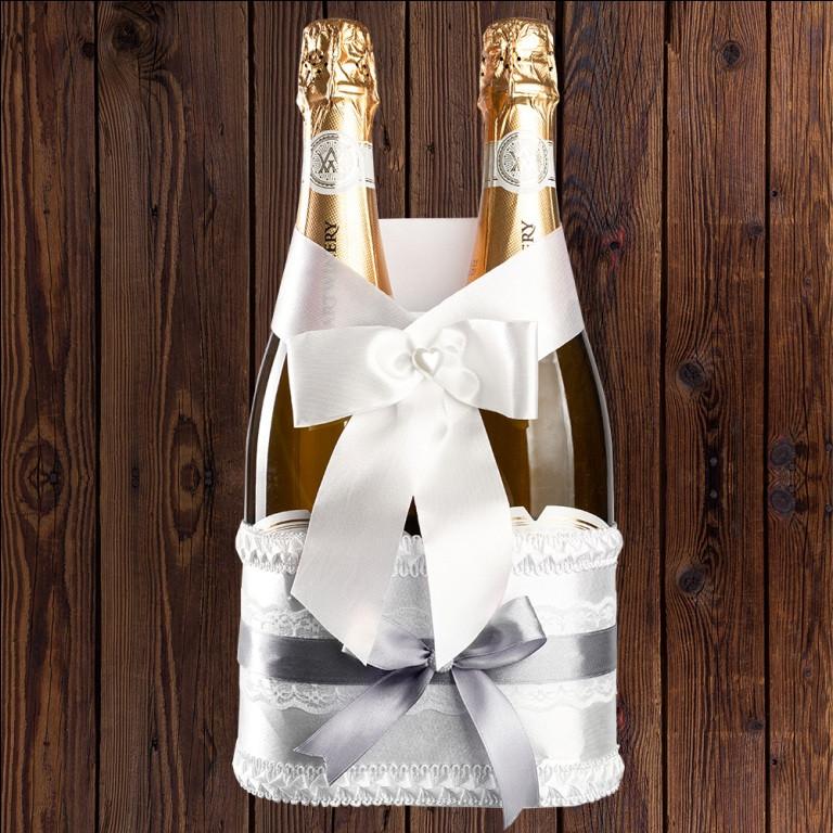 Корзинка для шампанского на 2 бутылки, серебристый цвет, арт. BFB-26