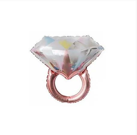 Фольгована кулька велика фігура колечко діамант рожеве золото 61х68см Китай