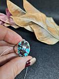 Бирюза кольцо с бирюзой 18,3 размер, натуральная бирюза в серебре Индия, фото 3
