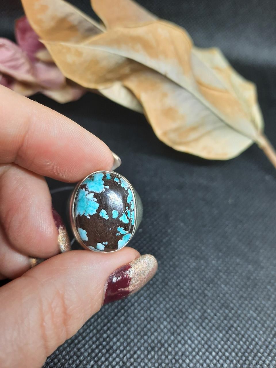 Бирюза кольцо с бирюзой 18,3 размер, натуральная бирюза в серебре Индия