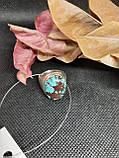 Бирюза кольцо с бирюзой 18,3 размер, натуральная бирюза в серебре Индия, фото 5